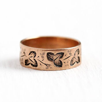 Victorian Baby Band - Antique 10K Rosy Yellow Gold Ring - Size 1 1/4 Vintage Leaf Motif Cigar Band Style Dainty Wide Fine Midi Jewelry