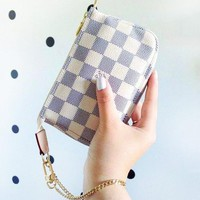 LV New fashion monogram tartan print leather shoulder bag women