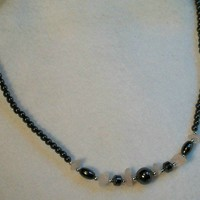 Hematite, Rose Quartz, Multi Gemstone Necklace Handmade Sterling Silver