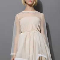 Dreamy Sheer Crepe Panel Dress in Nude Beige