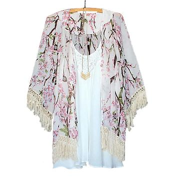2018 Summer Harajuku Style Women Floral Printed Chiffon Blouses Cape Kimono Cardigan Coat Knits Shirts Cover Up Tops