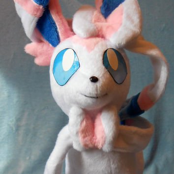 Pokemon inspired Sylveon Nymphia Eeveelution plush (57x36 cm) plushie made of minky, very cuddly!