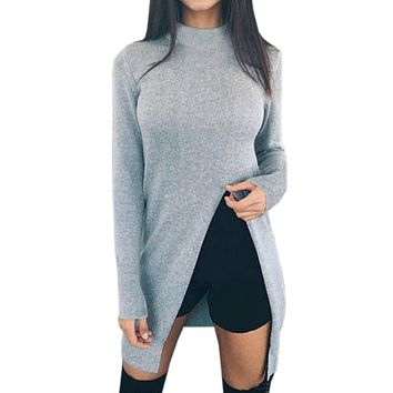Women Winter Sweater Shirts Long Sleeve Top Knitted Pullovers High Split Casual Knitwear Women Clothing Fashion Sweaters GV148