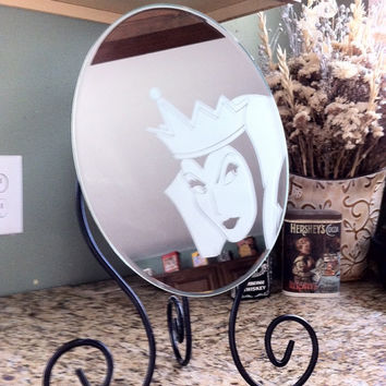 Evil Witch, Etched Mirror, Snow white, Hand crafted gift, Girls room decor, Mirror, Princess, By Otrengraving on Etsy