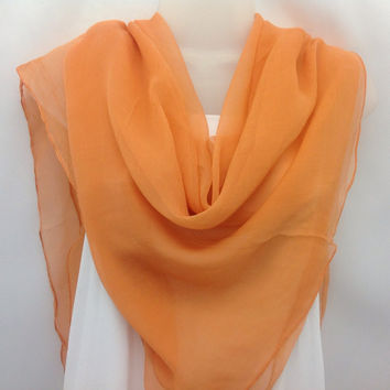 Sheer Orange Silk scarf Coworker Gifts, Summer Scarf Gift For Mother  Spring Scarf for Boating Sister in law gift  Niece  Silk Chiffon