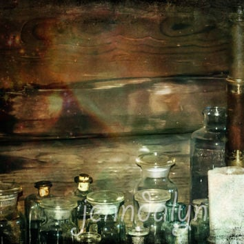 The Alchemist - PHOTO, apothecary bottles, glass bottles with corks, alchemy gothic, spooky, rustic wood