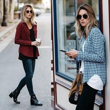autumn spring long sleeve shirts checkered blouse for women  number 1