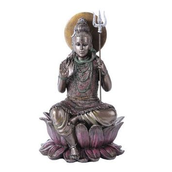 Shiva Seated on Lotus Flower Hindu God Deity Statue 8H