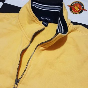 Vtg Nautica 1/4 Zip Yellow Pullover Hoody sz XL Sailing Jacket Preppy