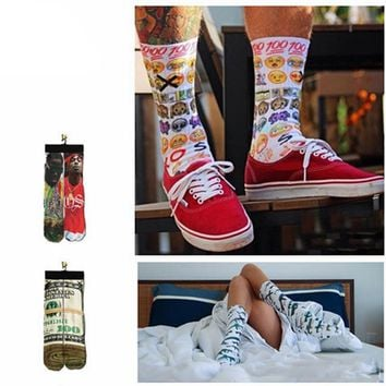 Emoji, Dollar Bills Rappers Collection Socks Funny Crazy Cool Novelty Cute Fun Funky Colorful