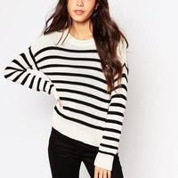 Daisy Street Stripe Crew Jumper with Side Splits