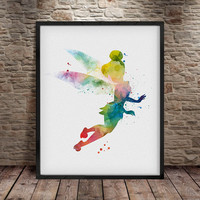 Tinkerbell Watercolour, Tinkerbell Art Print, Tinkerbell Poster, Disney Watercolor, Baby Room, Baby Wall Art, Illustrations, Tinkerbell -a17