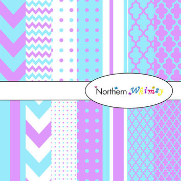 Digital Scrapbooking Paper Background Set – Aqua Blue and Mauve in stripe , chevron , polka dot , and quatrefoil patterns INSTANT DOWNLOAD