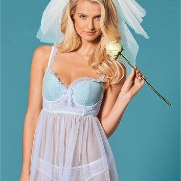 White Multi Longline Lace Babydoll from VENUS