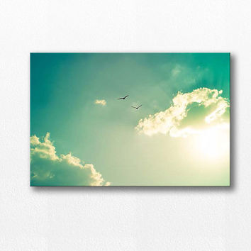 birds in flight canvas print photography 12x18 24x36 fine art photography bird flying canvas wrap large nature canvas print mint teal sunset