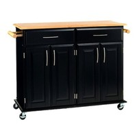 Dolly Madison Kitchen Island Cart - Black/Natural