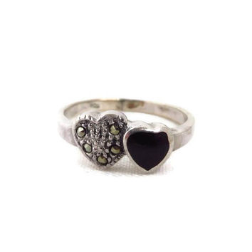 Onyx Heart Ring, Vintage Sterling Silver, Marcasite, Onyx Ring, Sterling Silver Band, Size 7.5, FREE SHIPPING