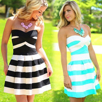 Plus Size Evening Prom Dress Strapless Slimming Striped Print Women
