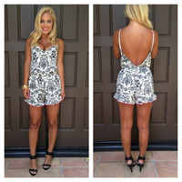Meet Me In Rome Printed Romper