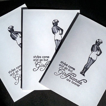 Girl Friends Note Card Set, Whimsical Handstamped, Blank White Notecards, Teas, Girls Night Out, Bridal Shower, Prom - Set of 5
