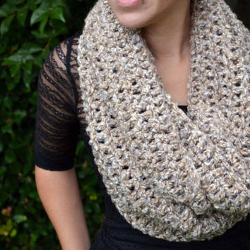 Oatmeal neutral colors crocheted loop infinity scarf, cowl