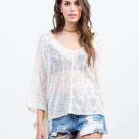 Sheer Knit Poncho Top