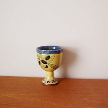 Vintage ceramic goblet, Greek earthenware ceramic goblet, glazed in bright yellow and blue,decorated with black olives, early nineties