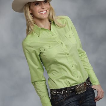 Roper® Women's Lime Green Poplin Long Sleeve Snap Western Shirt