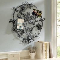 Boho Floral Round Wire Wall Decor