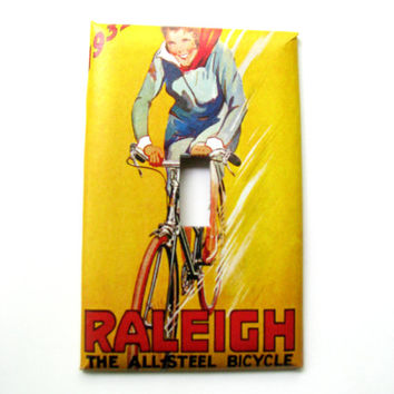 Light Switch Cover - Light Switch Plate Gladiator Raleigh Vintage Bicycle Ad