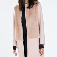 Combination fur and wool coat