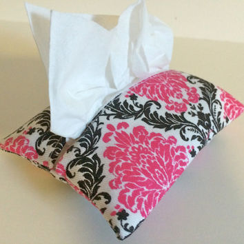 Travel Tissue Holder Kleenex Pouch in Pink Damask