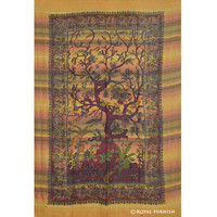 Orange Tree Of Life Woven Hippie Tapestry Wall Hanging Decor Art