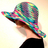 Women's Multicolor Sun Hat/ Handmade Cotton Summer Hat/ Women's Beach hat