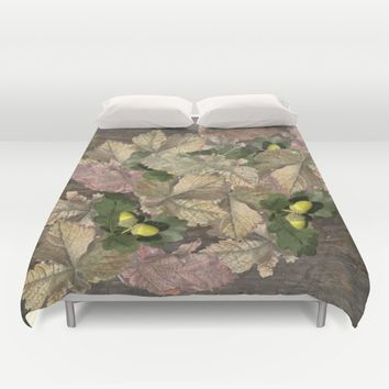 Acorns in Autumn Duvet Cover by anipani