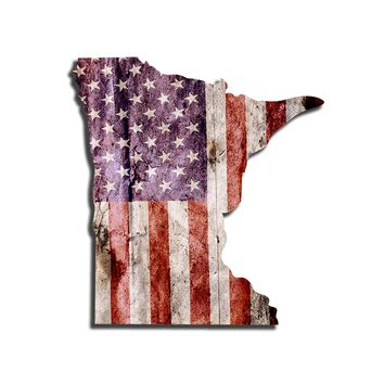 Minnesota Distressed Tattered Subdued USA American Flag Vinyl Sticker