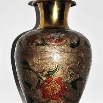 Solid Brass Vintage Cloisonne Vase Made In India-Vintage Brass India Vase Enamel Flowers