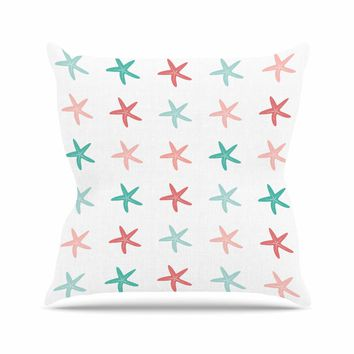 """afe images """"Starfish Pattern II"""" Teal Pink Illustration Outdoor Throw Pillow"""