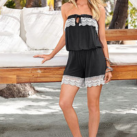 Lace Patchwork Strapless Romper B007809