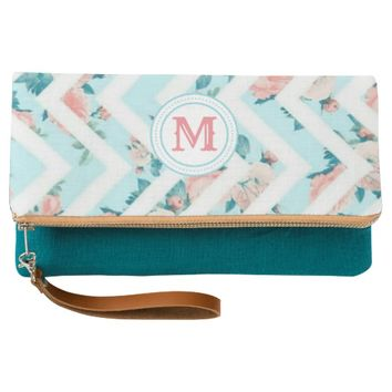 Blue Floral Monogram Chevron Pattern Clutch