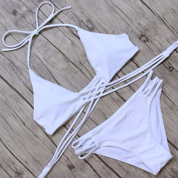 White Lace-up Halter Bikini Set
