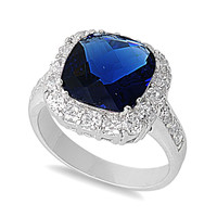 925 Sterling Silver CZ Embraced Square Simulated Sapphire Ring 13MM