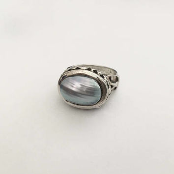 Statement Ring Soft Grey/Blue Mother of Pearl Style, Sterling Silver Filigree Style Setting - Boho Style Ring -  Ring Size Approx 9