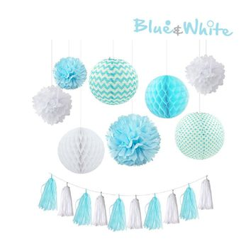 Baby Blue and White Tissue Poms, Tassel & Lantern Set |Blue Baby Shower| Blue Boys Birthday Party | Blue Tassels |Blue Theme Birthday Party