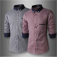 Check Long Sleeve Men's Dress Shirt