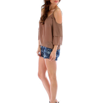 KHAKI OPEN SHOULDER BLOUSE WITH BELL SLEEVES