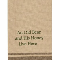 Cabin Lake and Lodge Decor - Embroidered Cotton Kitchen Dish Towel (Old Bear and His Honey)