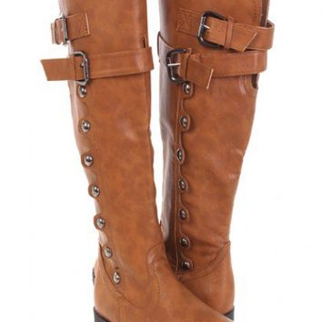 Light Brown Faux Leather Studded Buckled Riding Boots @ Amiclubwear Boots Catalog:women's winter boots,leather thigh high boots,black platform knee high boots,over the knee boots,Go Go boots,cowgirl boots,gladiator boots,womens dress boots,skirt boots,pin