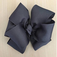 "Gray Bow, Double Stacked Bow, Boutique Hair Bow, Infant Bow, Hair Bows for Girls, Large Hair Bows, 4"" Bow, 6"" Bow, Ashtyn Baby Bow"