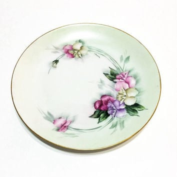 Favorite Bavaria Hand Painted Plate, Antique Hand Painted Porcelain, 8 1/2 Inch Plate, Pink Purple Sweet Pea Flowers, Signed, 1900-1909